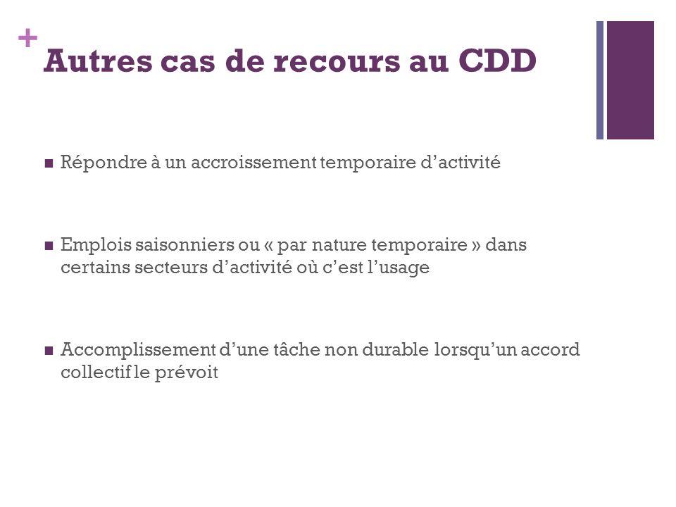 + Autres cas de recours au CDD Répondre à un accroissement temporaire dactivité Emplois saisonniers ou « par nature temporaire » dans certains secteur