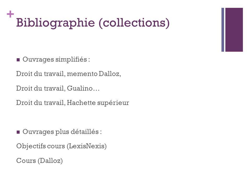 + Bibliographie (collections) Ouvrages simplifiés : Droit du travail, memento Dalloz, Droit du travail, Gualino… Droit du travail, Hachette supérieur