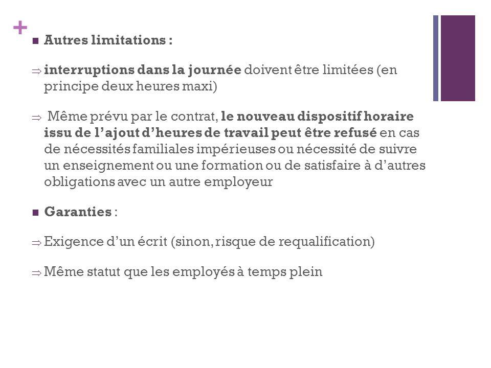 + Autres limitations : interruptions dans la journée doivent être limitées (en principe deux heures maxi) Même prévu par le contrat, le nouveau dispos