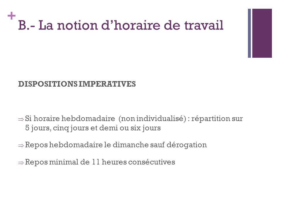 + B.- La notion dhoraire de travail DISPOSITIONS IMPERATIVES Si horaire hebdomadaire (non individualisé) : répartition sur 5 jours, cinq jours et demi