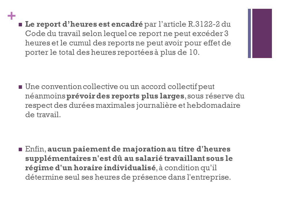 + Le report dheures est encadré par larticle R.3122-2 du Code du travail selon lequel ce report ne peut excéder 3 heures et le cumul des reports ne pe