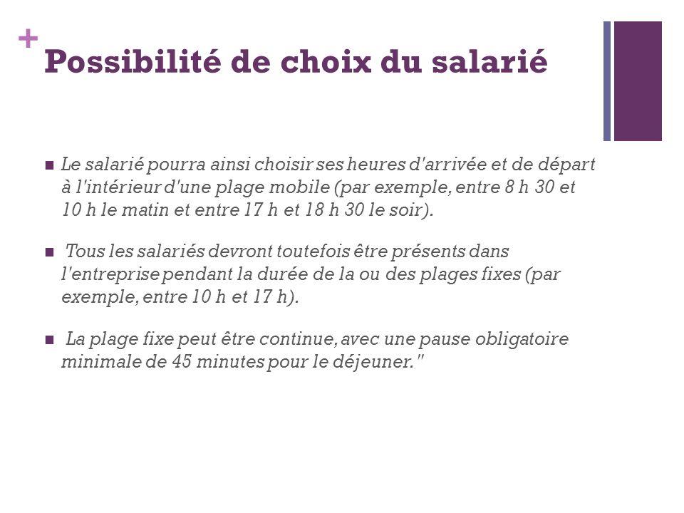 + Possibilité de choix du salarié Le salarié pourra ainsi choisir ses heures d'arrivée et de départ à l'intérieur d'une plage mobile (par exemple, ent