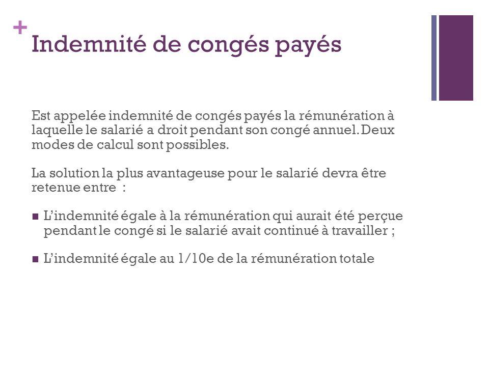 + Indemnité de congés payés Est appelée indemnité de congés payés la rémunération à laquelle le salarié a droit pendant son congé annuel. Deux modes d