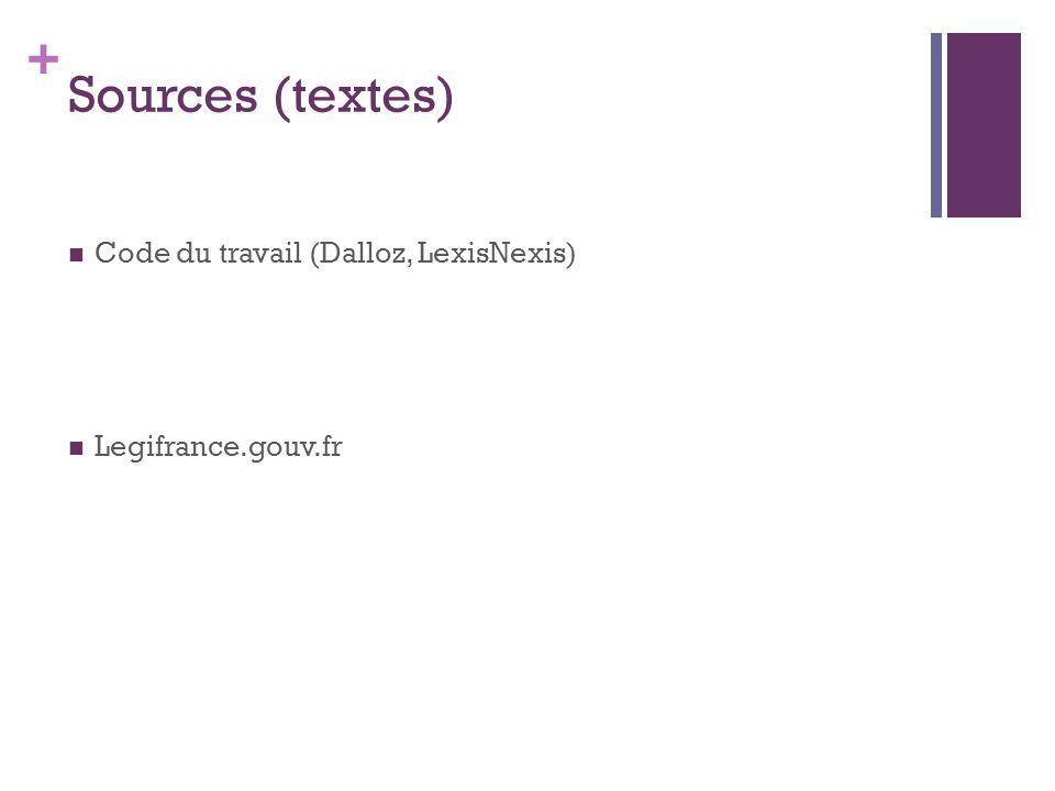 + Sources (textes) Code du travail (Dalloz, LexisNexis) Legifrance.gouv.fr