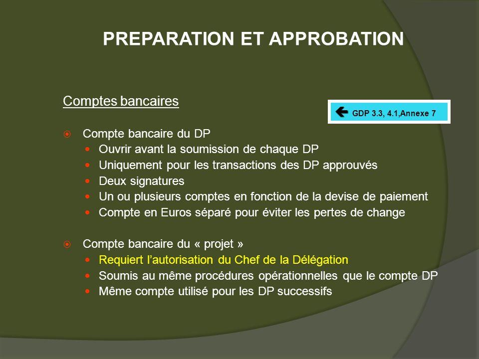 Comptes bancaires Compte bancaire du DP Ouvrir avant la soumission de chaque DP Uniquement pour les transactions des DP approuvés Deux signatures Un ou plusieurs comptes en fonction de la devise de paiement Compte en Euros séparé pour éviter les pertes de change Compte bancaire du « projet » Requiert lautorisation du Chef de la Délégation Soumis au même procédures opérationnelles que le compte DP Même compte utilisé pour les DP successifs GDP 3.3, 4.1,Annexe 7 PREPARATION ET APPROBATION