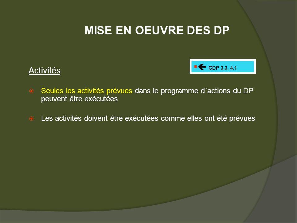 Activités Seules les activités prévues dans le programme d´actions du DP peuvent être exécutées Les activités doivent être exécutées comme elles ont été prévues GDP 3.3, 4.1 MISE EN OEUVRE DES DP
