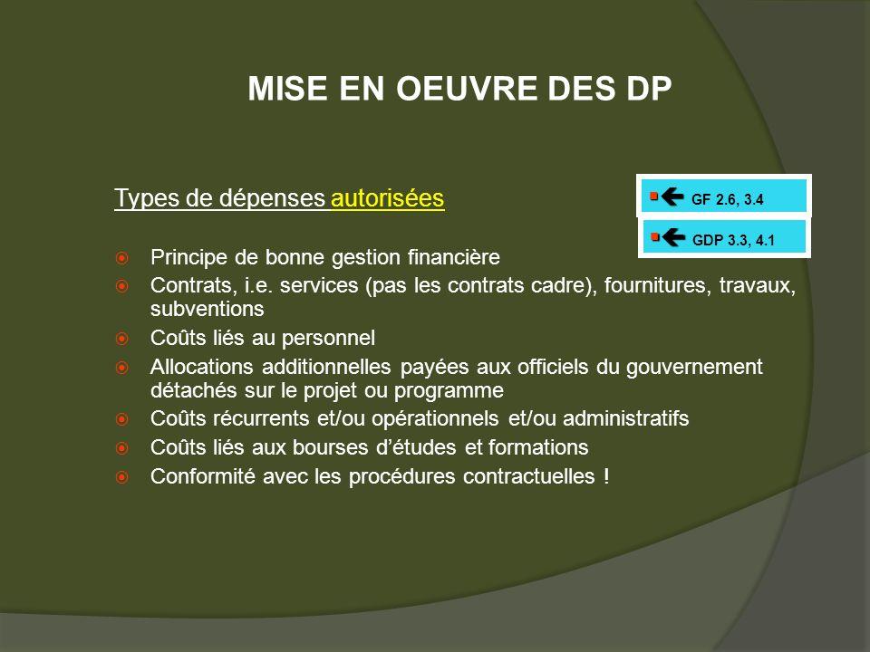 Types de dépenses autorisées Principe de bonne gestion financière Contrats, i.e.