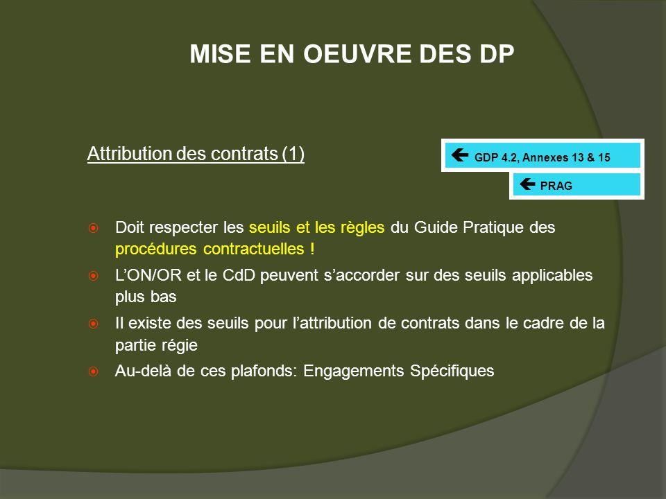 Attribution des contrats (1) Doit respecter les seuils et les règles du Guide Pratique des procédures contractuelles .