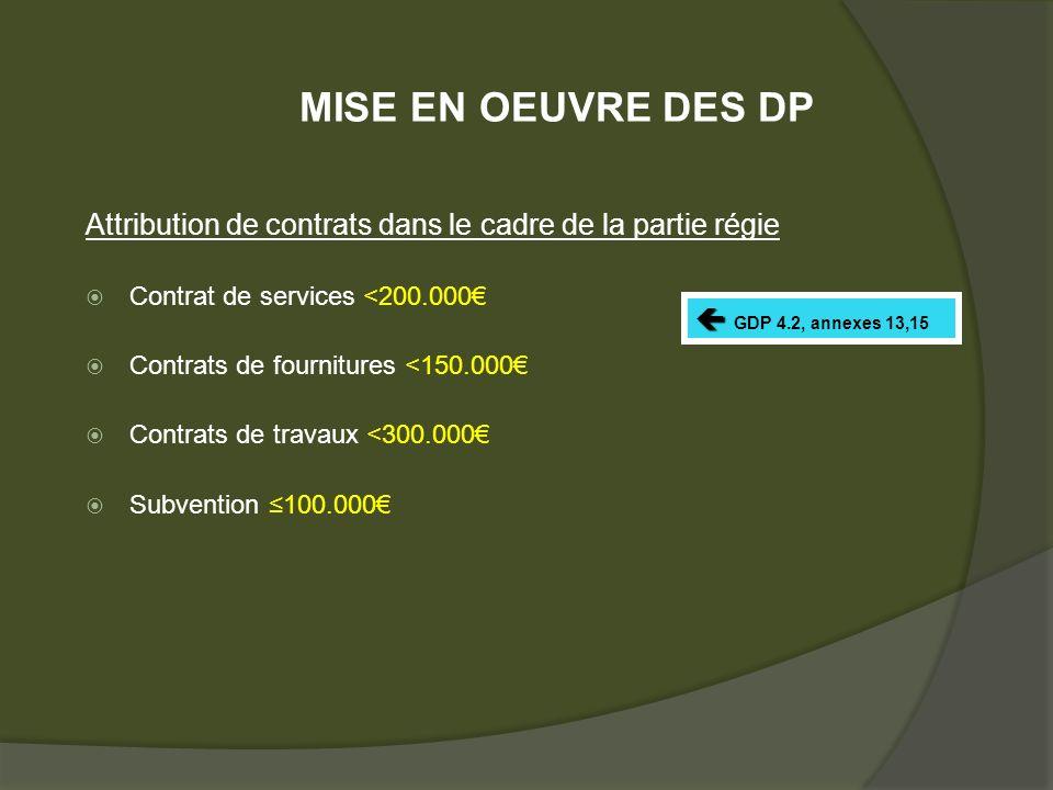Attribution de contrats dans le cadre de la partie régie Contrat de services <200.000 Contrats de fournitures <150.000 Contrats de travaux <300.000 Subvention 100.000 GDP 4.2, annexes 13,15 MISE EN OEUVRE DES DP