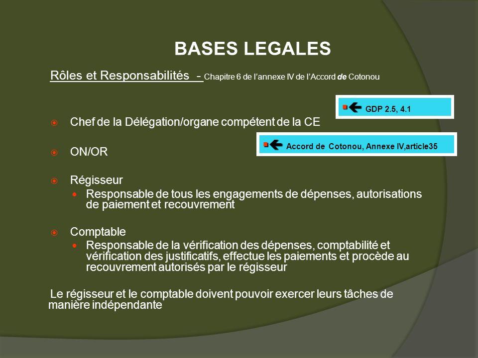 Rôles et Responsabilités - Chapitre 6 de lannexe IV de lAccord de Cotonou Chef de la Délégation/organe compétent de la CE ON/OR Régisseur Responsable de tous les engagements de dépenses, autorisations de paiement et recouvrement Comptable Responsable de la vérification des dépenses, comptabilité et vérification des justificatifs, effectue les paiements et procède au recouvrement autorisés par le régisseur Le régisseur et le comptable doivent pouvoir exercer leurs tâches de manière indépendante GDP 2.5, 4.1 Accord de Cotonou, Annexe IV,article35 BASES LEGALES
