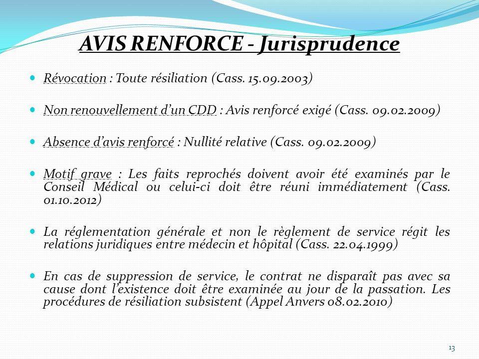 AVIS RENFORCE - Jurisprudence Révocation : Toute résiliation (Cass. 15.09.2003) Non renouvellement dun CDD : Avis renforcé exigé (Cass. 09.02.2009) Ab