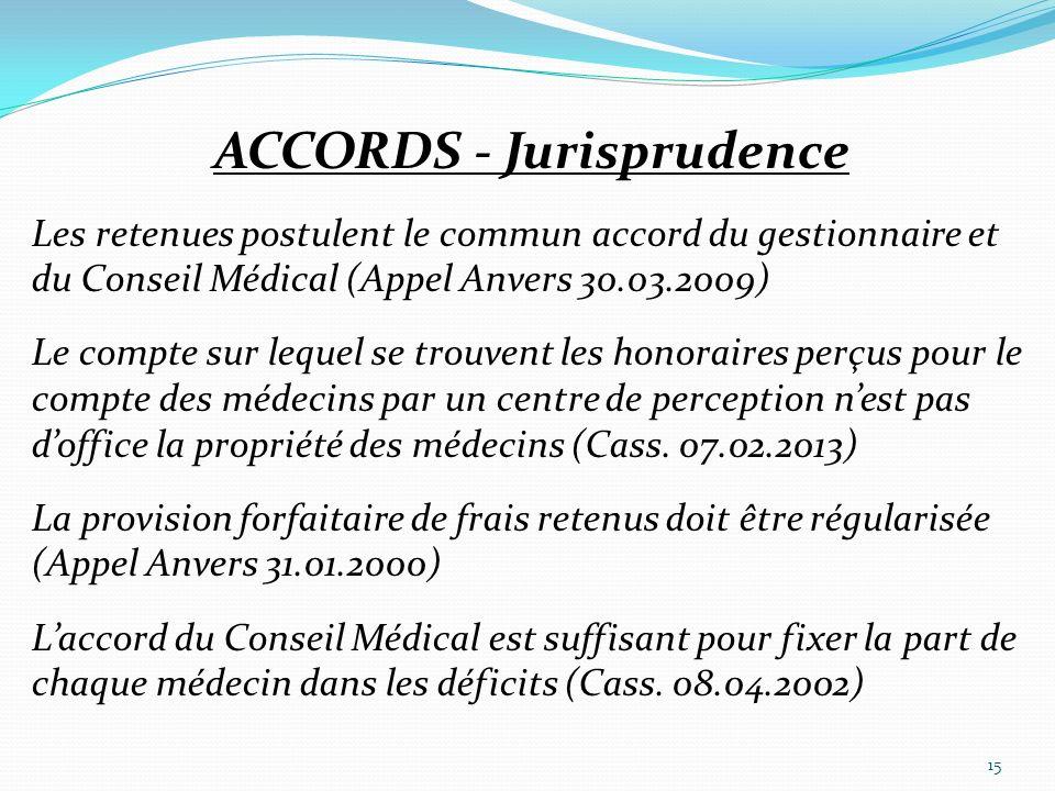 ACCORDS - Jurisprudence Les retenues postulent le commun accord du gestionnaire et du Conseil Médical (Appel Anvers 30.03.2009) Le compte sur lequel s