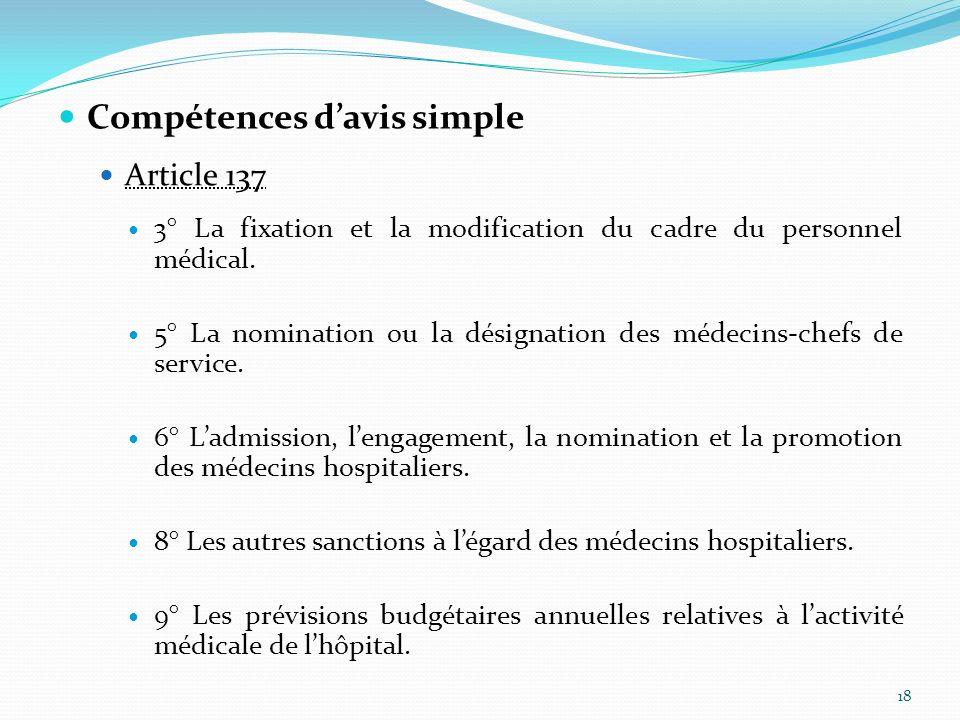 Compétences davis simple Article 137 3° La fixation et la modification du cadre du personnel médical. 5° La nomination ou la désignation des médecins-