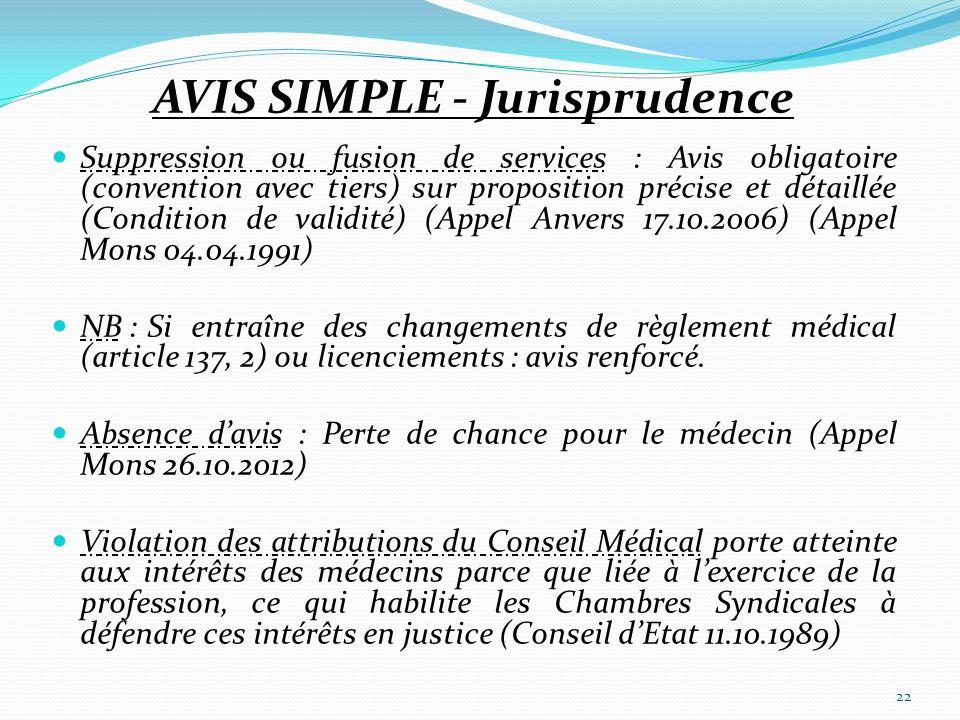 AVIS SIMPLE - Jurisprudence Suppression ou fusion de services : Avis obligatoire (convention avec tiers) sur proposition précise et détaillée (Conditi