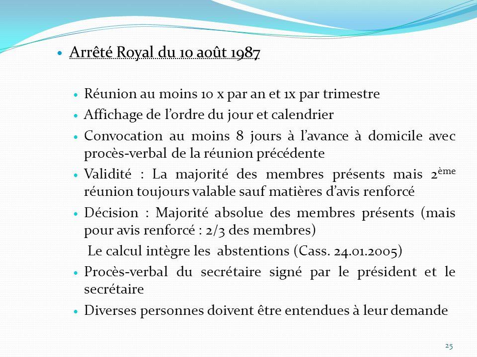 Arrêté Royal du 10 août 1987 Réunion au moins 10 x par an et 1x par trimestre Affichage de lordre du jour et calendrier Convocation au moins 8 jours à