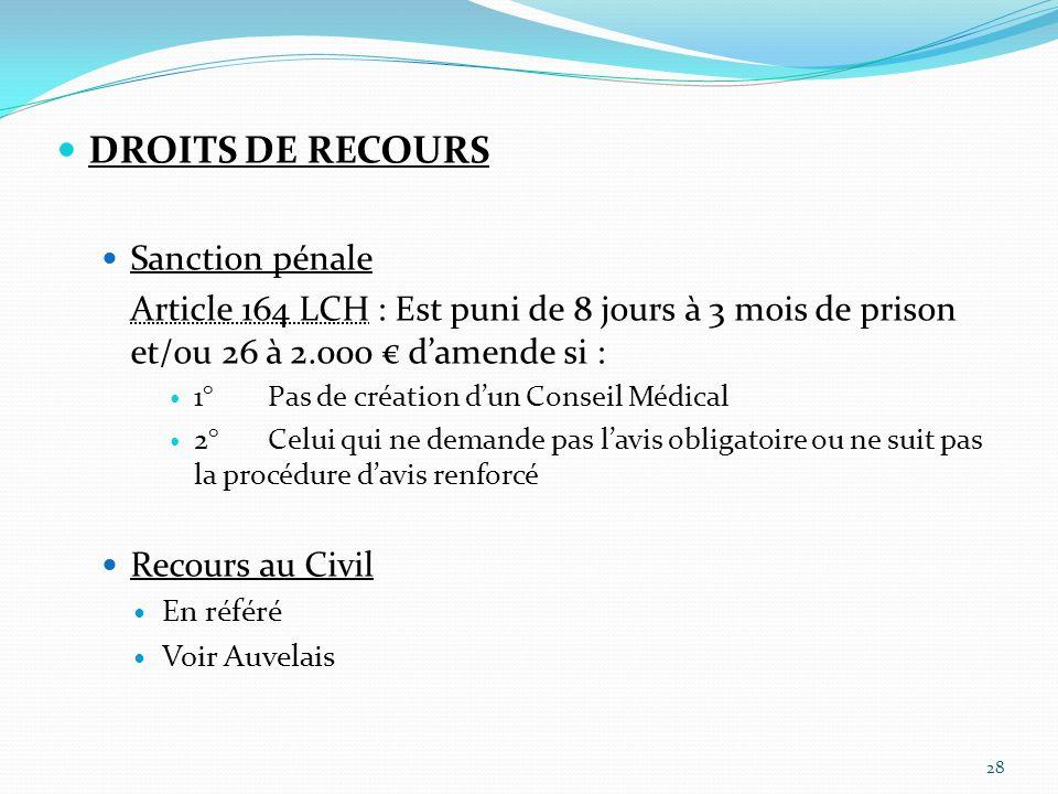 DROITS DE RECOURS Sanction pénale Article 164 LCH : Est puni de 8 jours à 3 mois de prison et/ou 26 à 2.000 damende si : 1°Pas de création dun Conseil