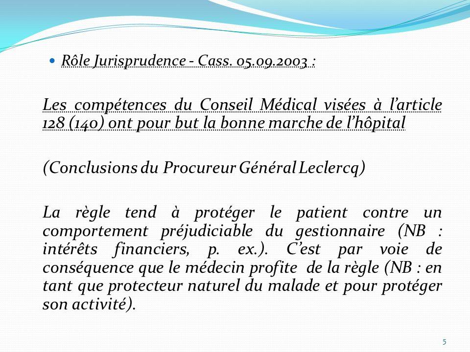 Rôle Jurisprudence - Cass. 05.09.2003 : Les compétences du Conseil Médical visées à larticle 128 (140) ont pour but la bonne marche de lhôpital (Concl