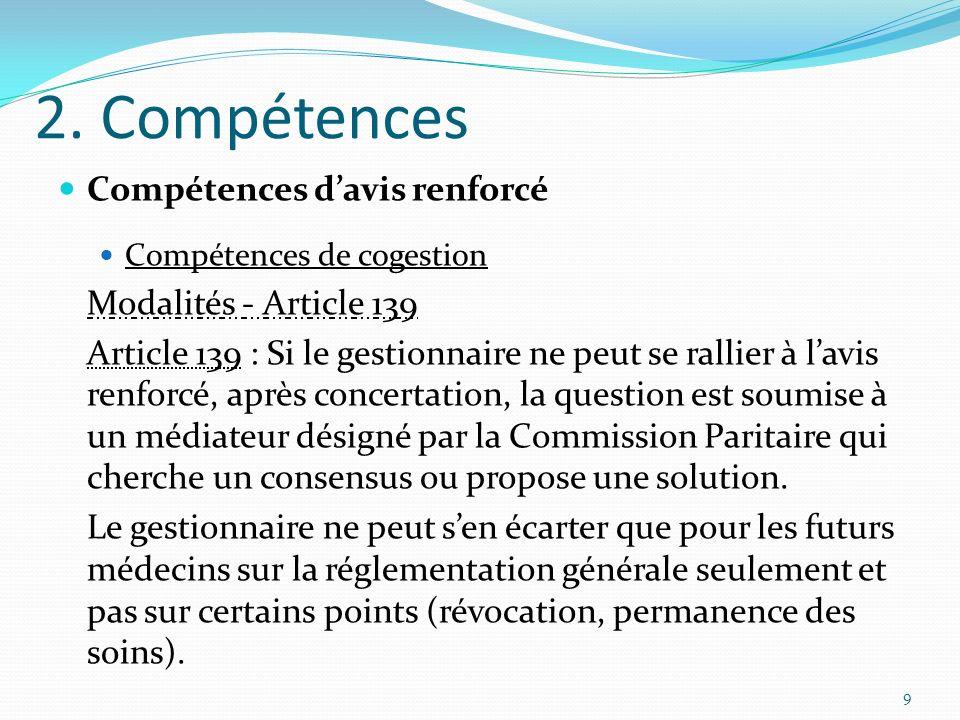 2. Compétences Compétences davis renforcé Compétences de cogestion Modalités - Article 139 Article 139 : Si le gestionnaire ne peut se rallier à lavis