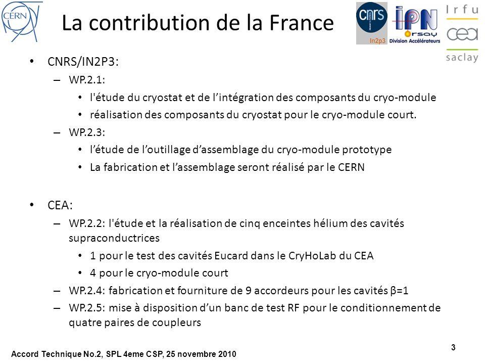 4 Cryo-module: Etat de létude Schéma cryogénique défini Connexion au banc de test CERN définie Concept CERN du supportage cavités défini (voir présentation CNRS) – Tube double vertical sous la cavité – Support inter- cavités Design coupleur et tube double terminé, interfaces en cours de définition – Avec cavités : par CERN – Avec cryostat : par CNRS Enceinte Hélium nécessaire au cryo-module – Modification au design en cours par CNRS – Production assurée par CEA Instrumentation en cours de définition par CERN Accord Technique No.2, SPL 4eme CSP, 25 novembre 2010