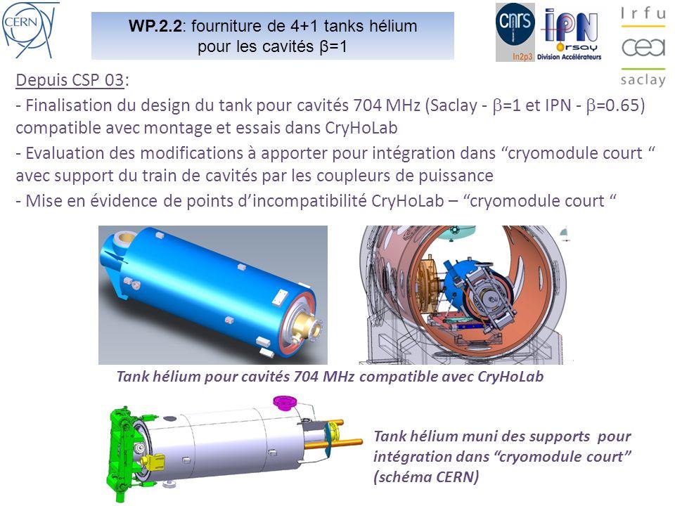 WP.2.2: fourniture de 4+1 tanks hélium pour les cavités β=1 Depuis CSP 03: - Finalisation du design du tank pour cavités 704 MHz (Saclay - =1 et IPN - =0.65) compatible avec montage et essais dans CryHoLab - Evaluation des modifications à apporter pour intégration dans cryomodule court avec support du train de cavités par les coupleurs de puissance - Mise en évidence de points dincompatibilité CryHoLab – cryomodule court Tank hélium pour cavités 704 MHz compatible avec CryHoLab Tank hélium muni des supports pour intégration dans cryomodule court (schéma CERN)