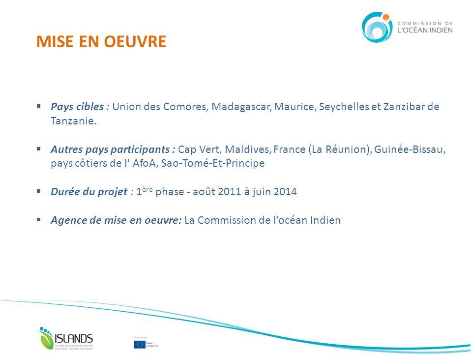 MISE EN OEUVRE Pays cibles : Union des Comores, Madagascar, Maurice, Seychelles et Zanzibar de Tanzanie. Autres pays participants : Cap Vert, Maldives
