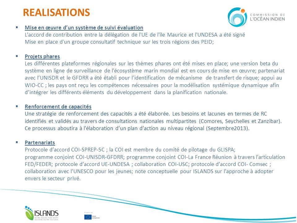 REALISATIONS Mise en œuvre dun système de suivi évaluation Laccord de contribution entre la délégation de l'UE de l'île Maurice et l'UNDESA a été sign