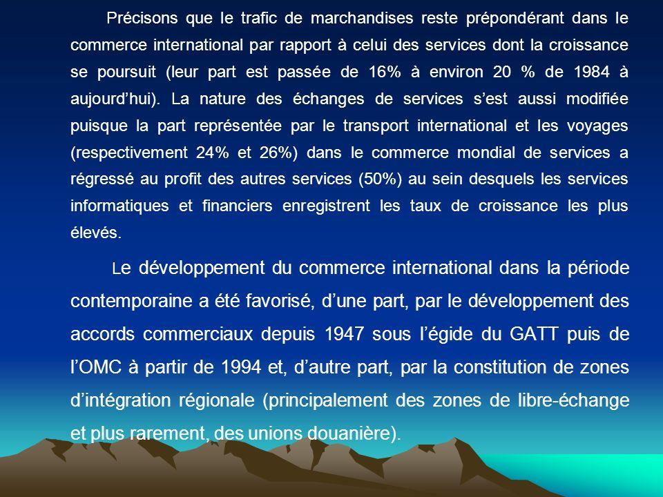 Section 1 - Louverture contemporaine à léchange international par les négociations commerciales multilatérales et les zones dintégration régionale Depuis 1945, le processus de libéralisation du commerce mondial repose en grande partie sur des systèmes fondés sur la coordination des politiques commerciales au sein du GATT puis de lOMC.