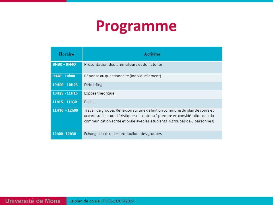 Université de Mons Programme Le plan de cours-CPUQ-11/03/2014 HoraireActivités 9H30 - 9H40Présentation des animateurs et de latelier 9H40 - 10h00Réponse au questionnaire (individuellement) 10H00 - 10H25Débriefing 10H25 - 11H15Exposé théorique 11h15 - 11h30Pause 11H30 – 12h00 Travail de groupe.
