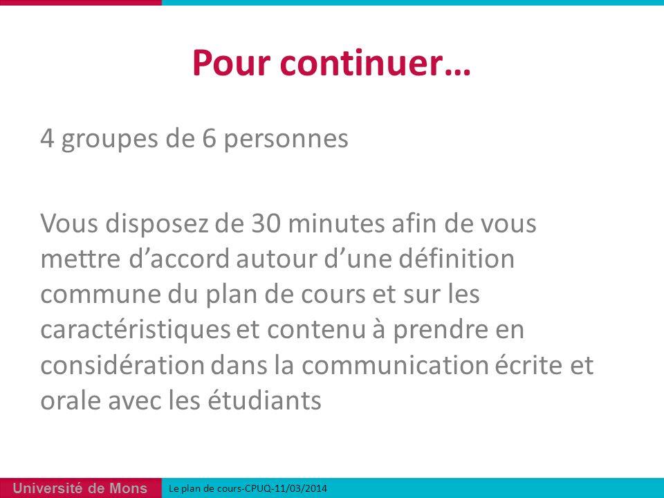 Université de Mons 4 groupes de 6 personnes Vous disposez de 30 minutes afin de vous mettre daccord autour dune définition commune du plan de cours et sur les caractéristiques et contenu à prendre en considération dans la communication écrite et orale avec les étudiants Pour continuer… Le plan de cours-CPUQ-11/03/2014