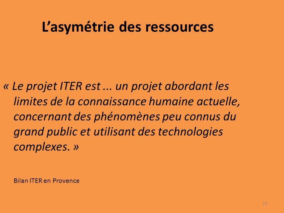 Lasymétrie des ressources « Le projet ITER est...