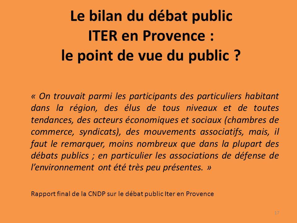 Le bilan du débat public ITER en Provence : le point de vue du public .