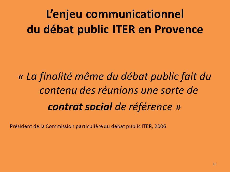 Lenjeu communicationnel du débat public ITER en Provence « La finalité même du débat public fait du contenu des réunions une sorte de contrat social de référence » Président de la Commission particulière du débat public ITER, 2006 18
