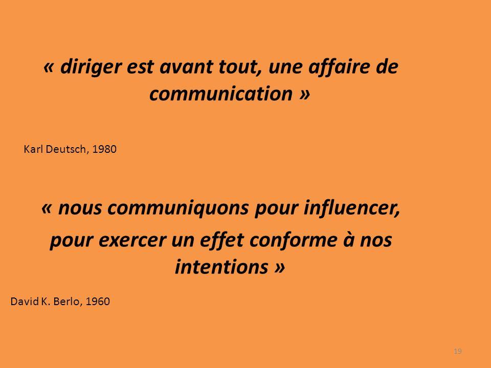 « diriger est avant tout, une affaire de communication » Karl Deutsch, 1980 « nous communiquons pour influencer, pour exercer un effet conforme à nos intentions » David K.