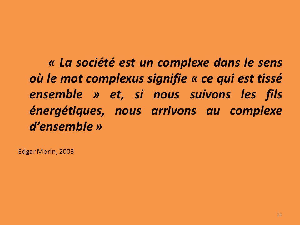 « La société est un complexe dans le sens où le mot complexus signifie « ce qui est tissé ensemble » et, si nous suivons les fils énergétiques, nous arrivons au complexe densemble » Edgar Morin, 2003 20