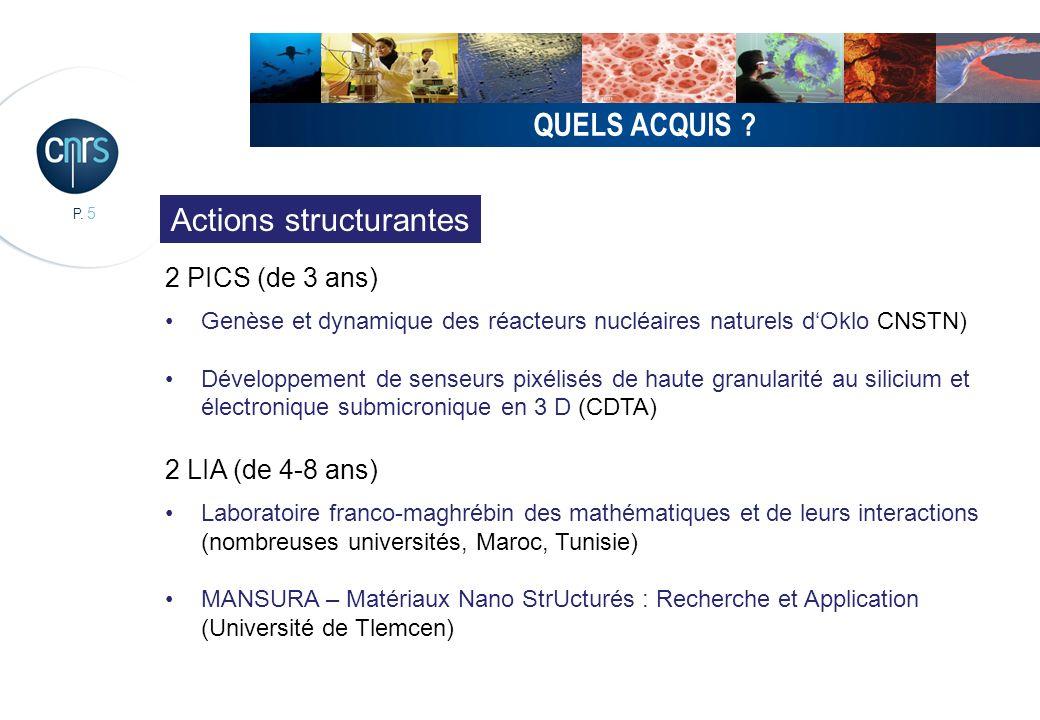 P. 5 QUELS ACQUIS ? 2 PICS (de 3 ans) Genèse et dynamique des réacteurs nucléaires naturels dOklo CNSTN) Développement de senseurs pixélisés de haute