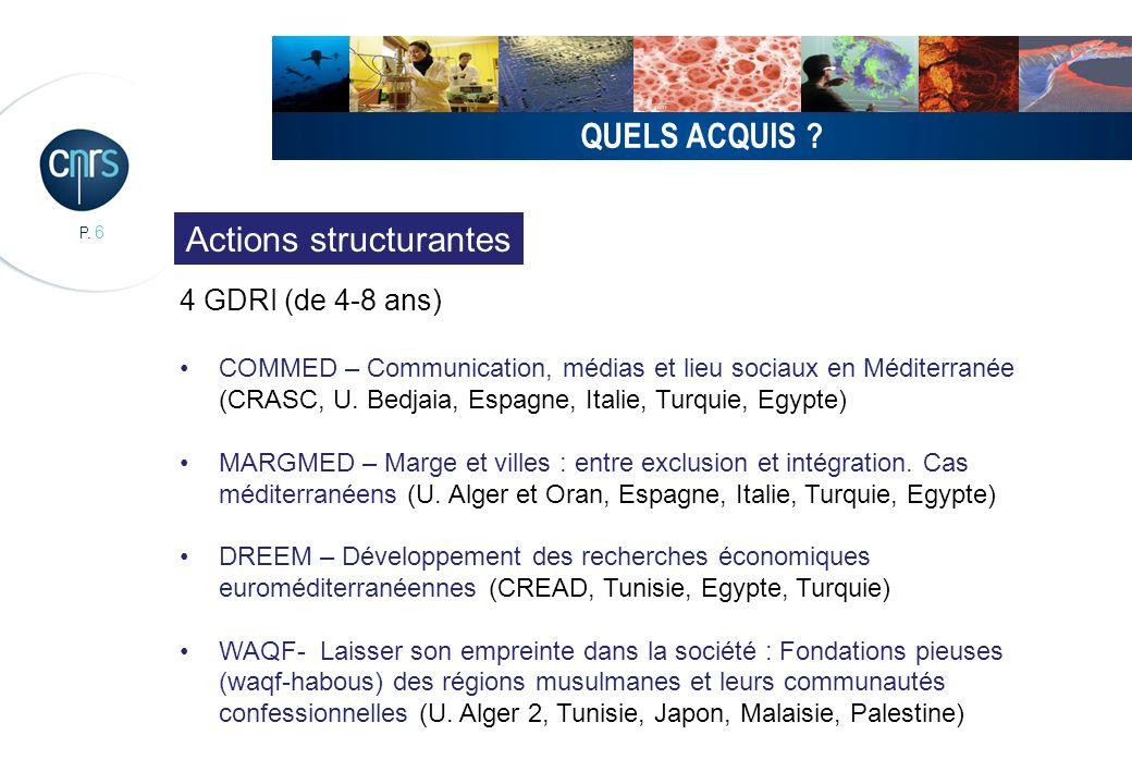 P. 6 QUELS ACQUIS ? 4 GDRI (de 4-8 ans) COMMED – Communication, médias et lieu sociaux en Méditerranée (CRASC, U. Bedjaia, Espagne, Italie, Turquie, E