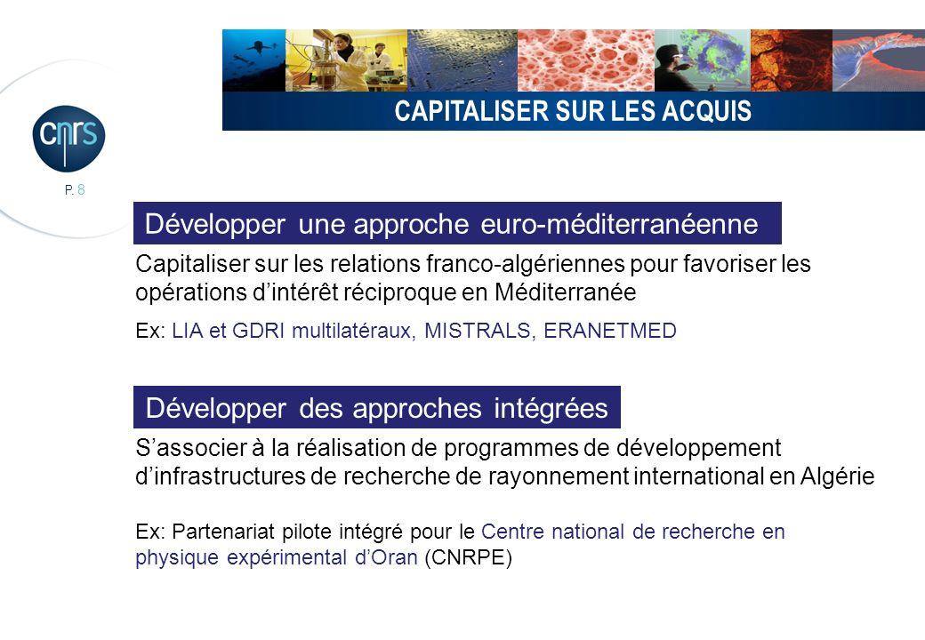 P. 8 CAPITALISER SUR LES ACQUIS Capitaliser sur les relations franco-algériennes pour favoriser les opérations dintérêt réciproque en Méditerranée Ex: