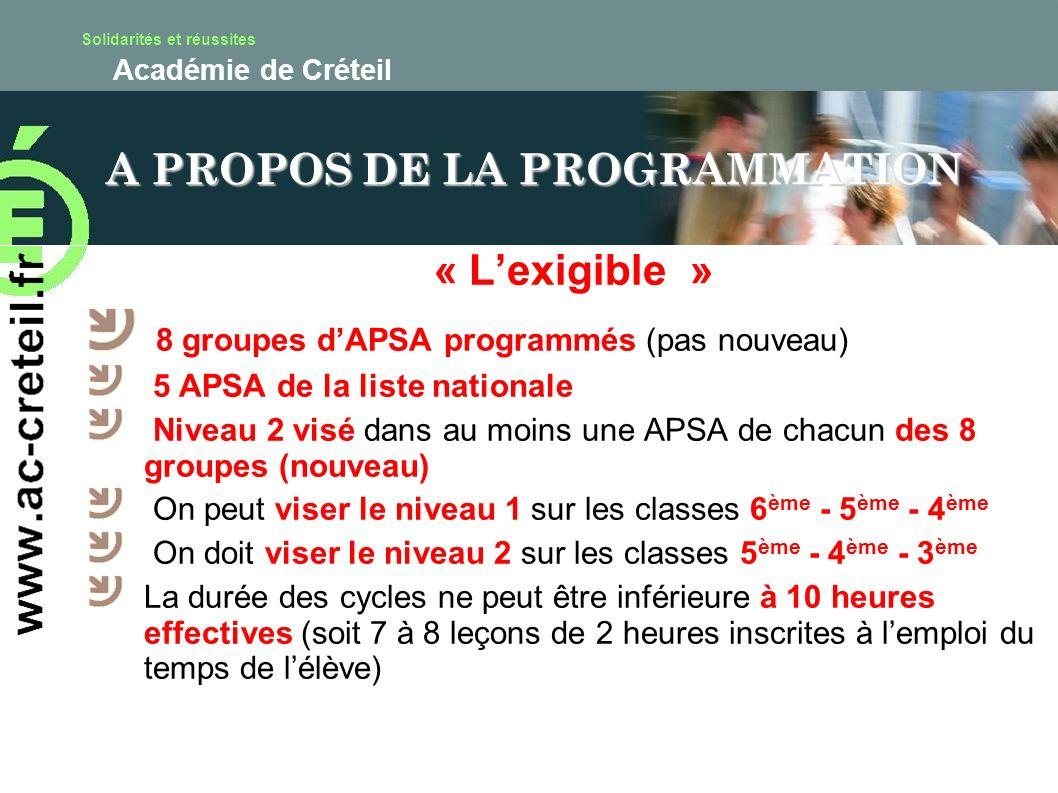 Solidarités et réussites Académie de Créteil « Lexigible » 8 groupes dAPSA programmés (pas nouveau) 5 APSA de la liste nationale Niveau 2 visé dans au