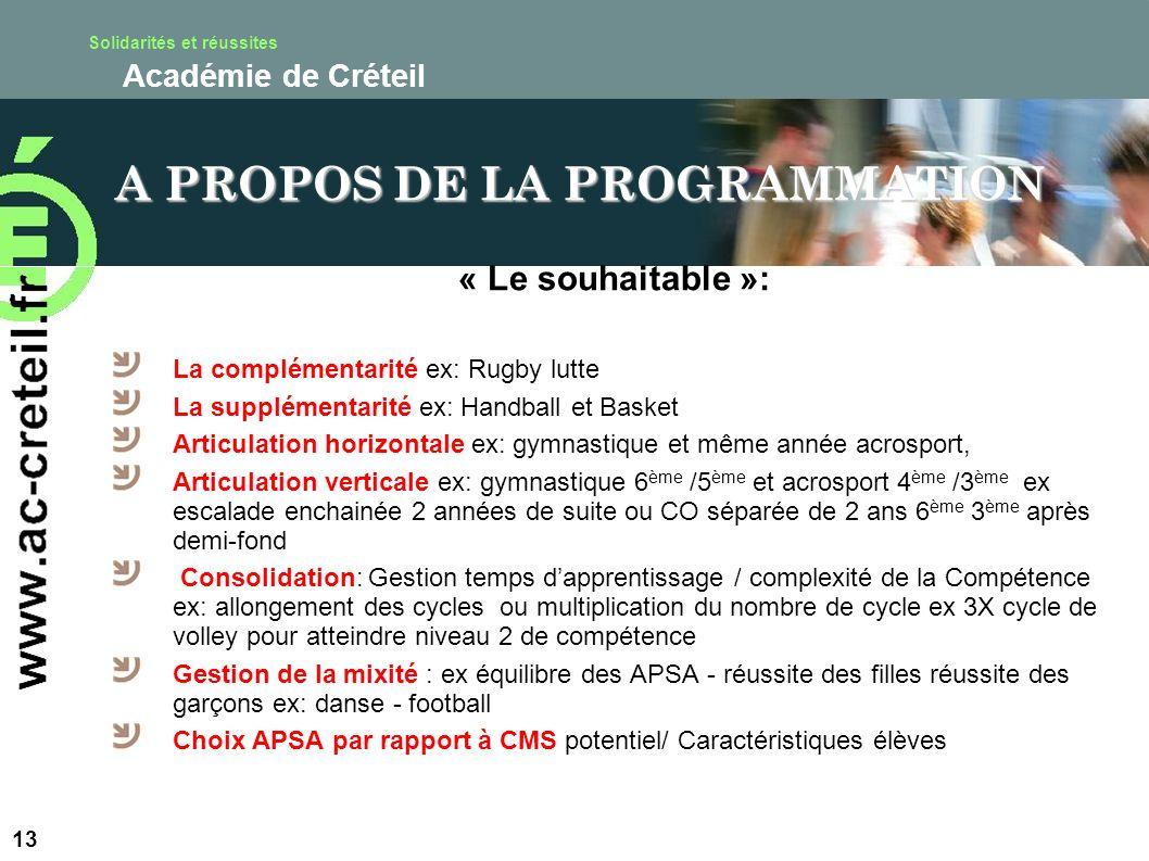 Solidarités et réussites Académie de Créteil « Le souhaitable »: La complémentarité ex: Rugby lutte La supplémentarité ex: Handball et Basket Articula