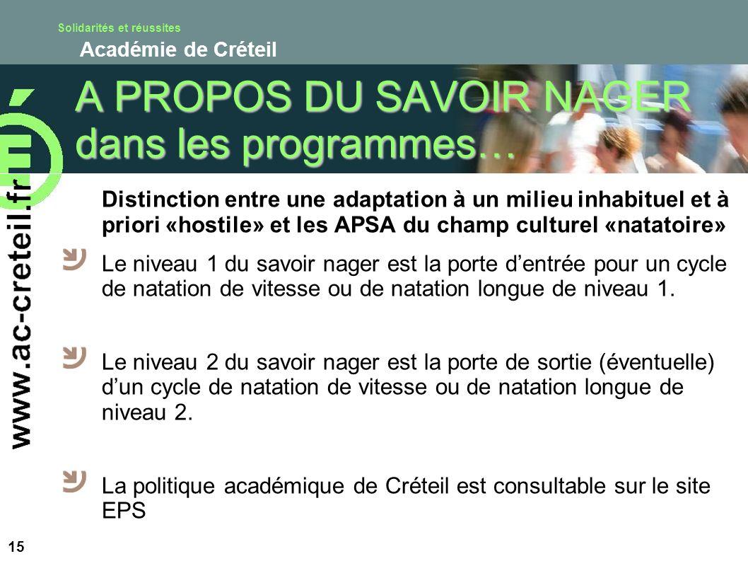 Solidarités et réussites Académie de Créteil A PROPOS DU SAVOIR NAGER dans les programmes… Distinction entre une adaptation à un milieu inhabituel et