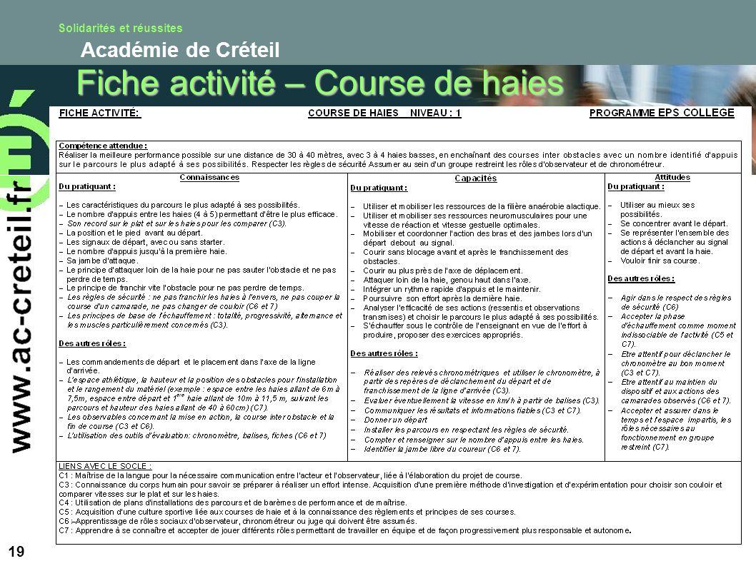 Solidarités et réussites Académie de Créteil 19 Fiche activité – Course de haies
