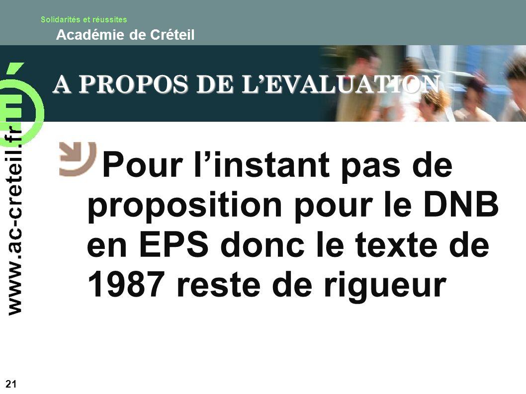 Solidarités et réussites Académie de Créteil A PROPOS DE LEVALUATION Pour linstant pas de proposition pour le DNB en EPS donc le texte de 1987 reste d