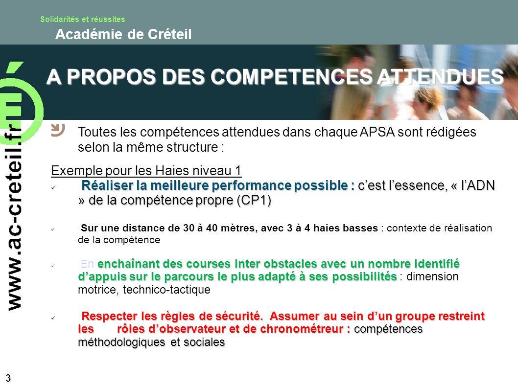 Solidarités et réussites Académie de Créteil 3 A PROPOS DES COMPETENCES ATTENDUES Toutes les compétences attendues dans chaque APSA sont rédigées selo