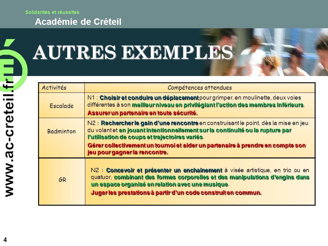 Solidarités et réussites Académie de Créteil AUTRES EXEMPLES 4 ActivitésCompétences attendues Escalade Choisir et conduire un déplacement meilleur niv