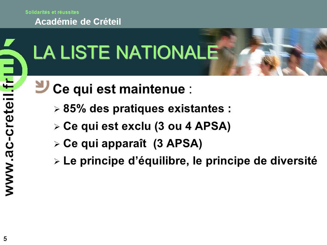 Solidarités et réussites Académie de Créteil LA LISTE NATIONALE Ce qui est maintenue : 85% des pratiques existantes : Ce qui est exclu (3 ou 4 APSA) C