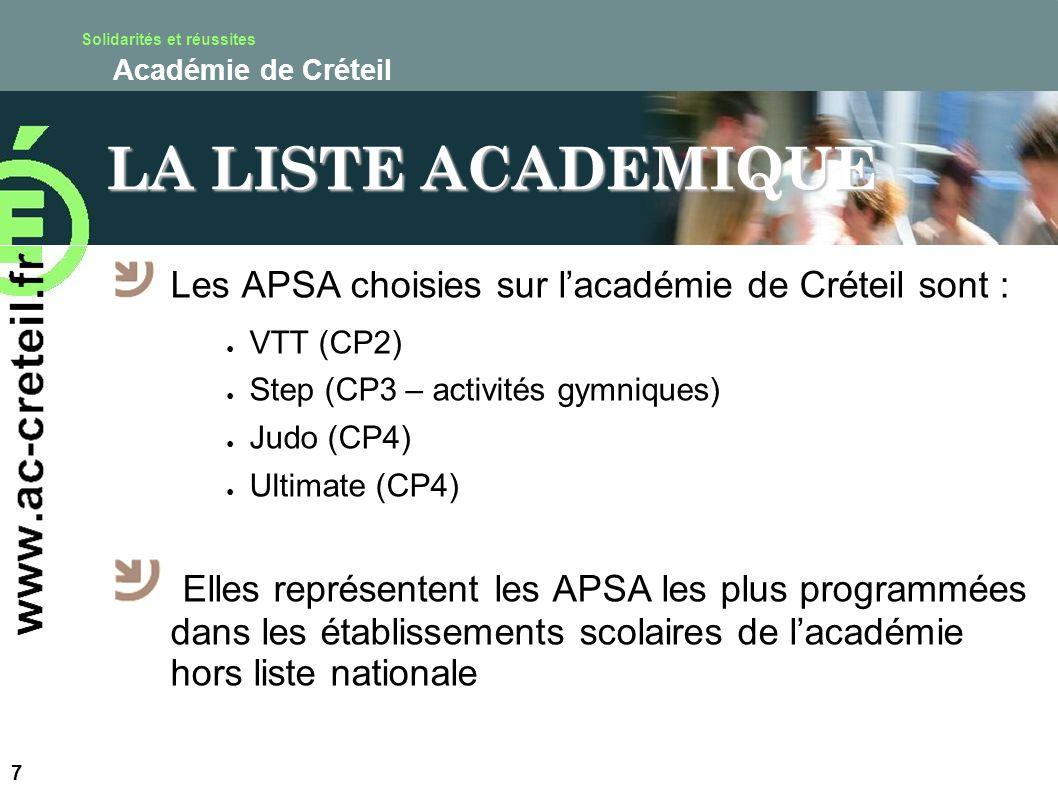 Solidarités et réussites Académie de Créteil LA LISTE ACADEMIQUE Les APSA choisies sur lacadémie de Créteil sont : VTT (CP2) Step (CP3 – activités gym