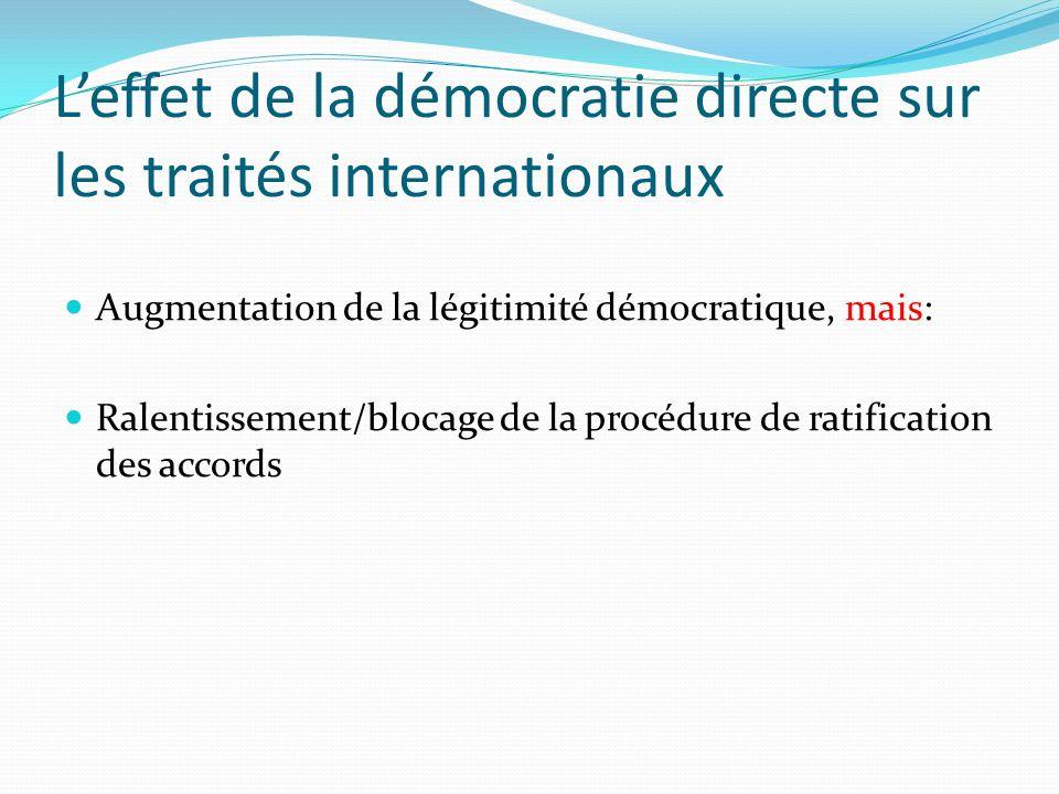 Leffet de la démocratie directe sur les traités internationaux Augmentation de la légitimité démocratique, mais: Ralentissement/blocage de la procédure de ratification des accords