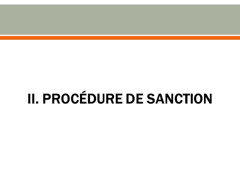 II. PROCÉDURE DE SANCTION