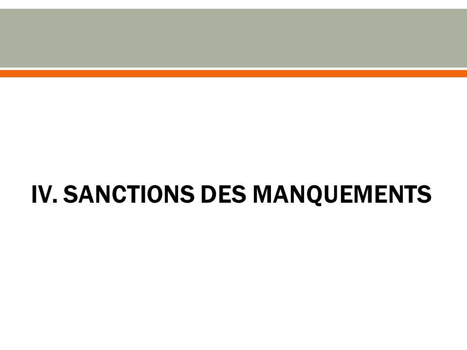 IV. SANCTIONS DES MANQUEMENTS