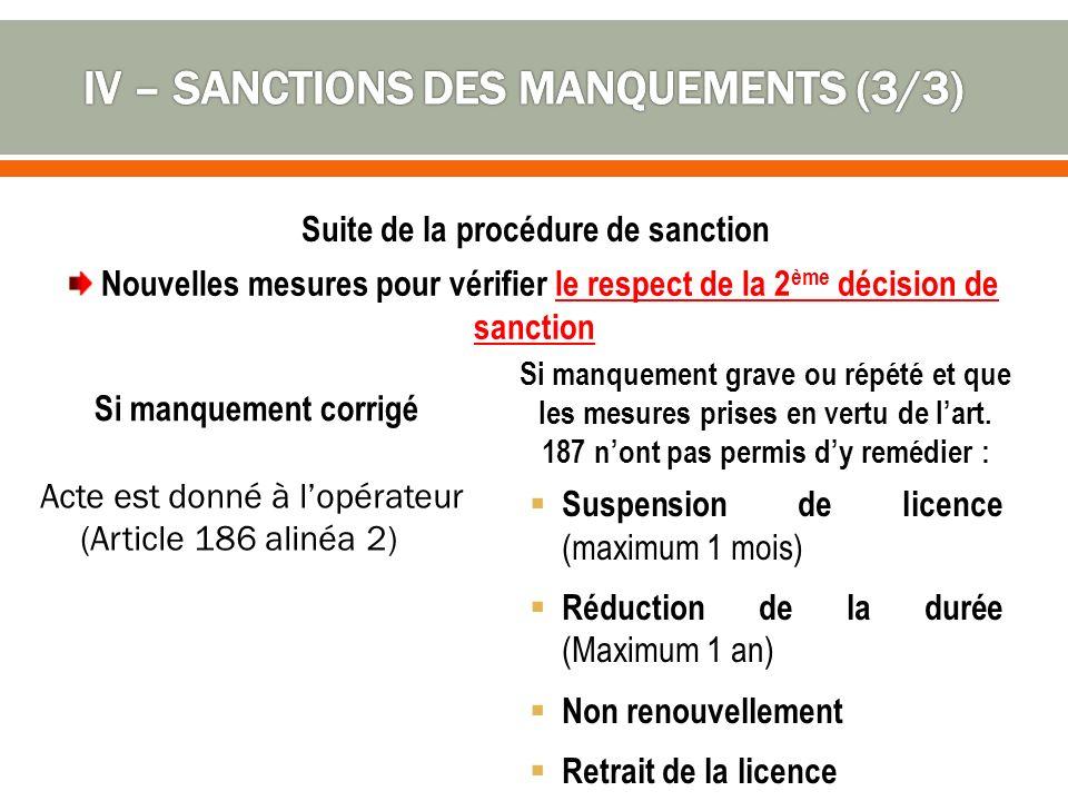 Si manquement corrigé Suspension de licence (maximum 1 mois) Réduction de la durée (Maximum 1 an) Non renouvellement Retrait de la licence Si manquement grave ou répété et que les mesures prises en vertu de lart.